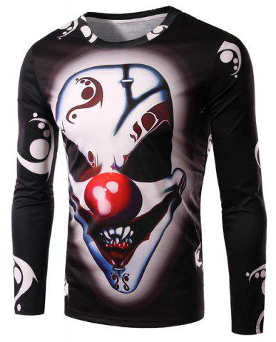 Outfit Round Neck 3D Demon Clown Print Long Sleeve Men's T-Shirt - L BLACK Mobile