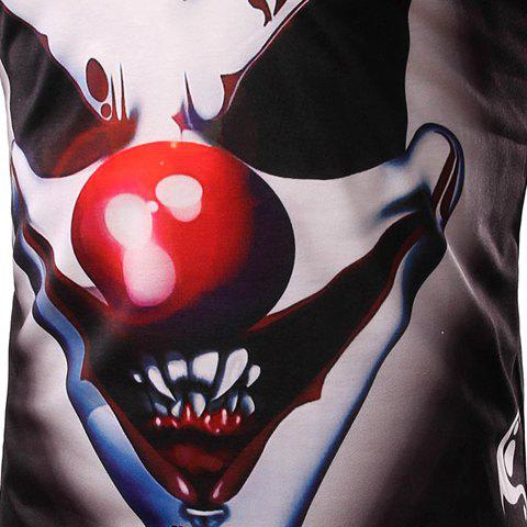 New Round Neck 3D Demon Clown Print Long Sleeve Men's T-Shirt - L BLACK Mobile