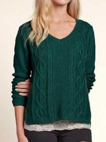 Green M Casual V Neck Cable Knit Long Sleeve Sweater For