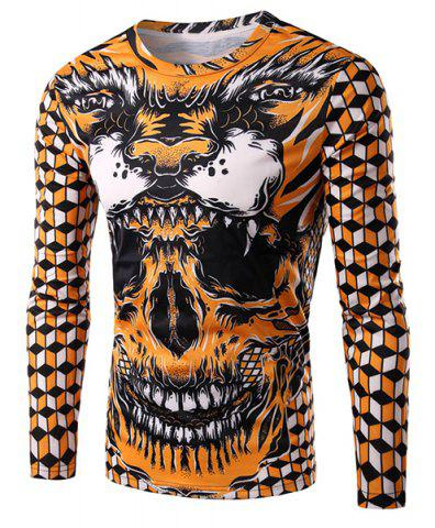 Best Round Neck 3D Geometric and Skull Print Long Sleeve Men's T-Shirt