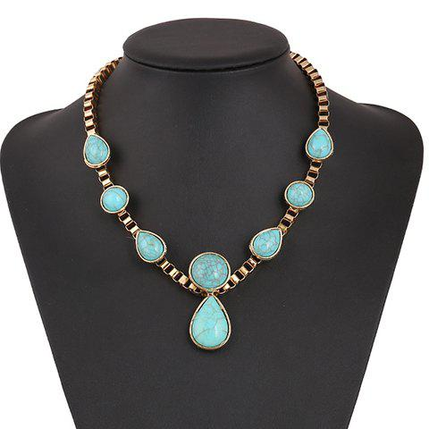 Trendy Ethnic Teardrop Faux Turquoise Necklace