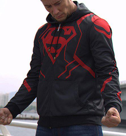 Fancy Slimming Hooded Superman Costume Print Long Sleeve Men's Jacket