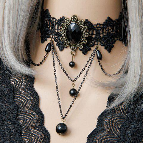 Vintage Beads Layered Choker Necklace For Women - BLACK