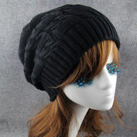 Fancy Chic Solid Color Winter Knitted Beanie For Women - BLACK  Mobile
