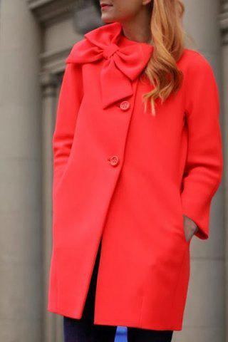 Sweet 3D Bowknot Embellished Red Long Sleeve Coat For Women