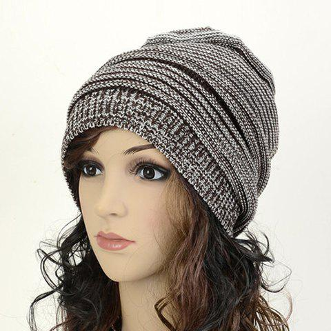 Latest Winter Acrylic Knit Beanie Hat - COFFEE  Mobile