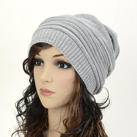 Winter Acrylic Knit Beanie Hat - Gray