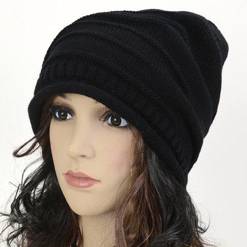 Stripy and Edge Curl Knitted Acrylic Beanie Hat - BLACK