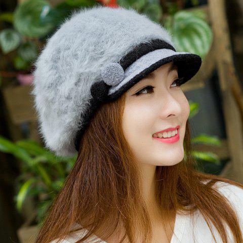 Latest Fashion Faux Fur Button and Strappy Embellished Newsboy Cap For Women