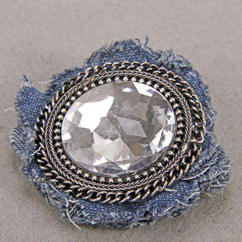 Latest Characteristic Floral Shape Rhinestone Denim Brooch For Women -   Mobile