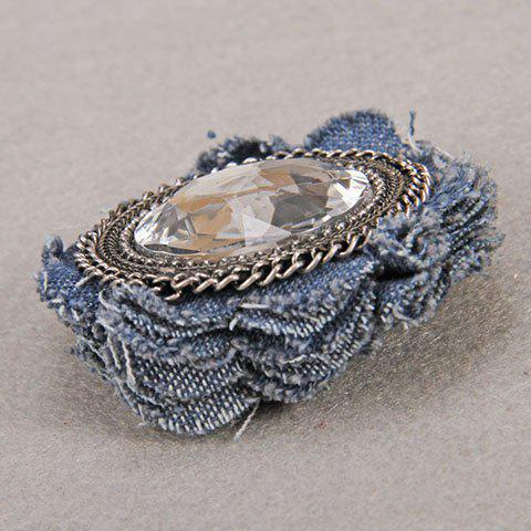 Affordable Characteristic Floral Shape Rhinestone Denim Brooch For Women -   Mobile