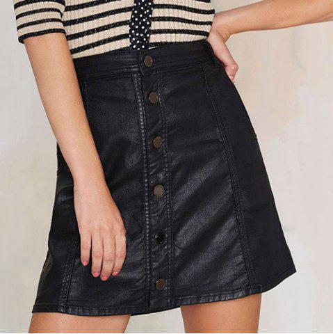 Buy Stylish Button Fly Pocket Design Faux Leather A-Line Skirt Women