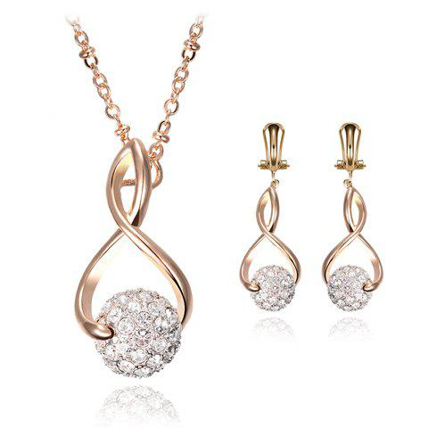Outfits A Suit of Stunning Rhinestoned Heart Shape Hollow Out Necklace and Earrings For Women