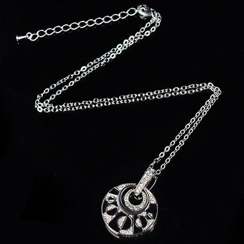 Fashion Rhinestoned Hollow Out Round Necklace and Earrings - SILVER  Mobile