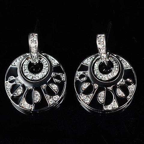 Cheap Rhinestoned Hollow Out Round Necklace and Earrings - SILVER  Mobile