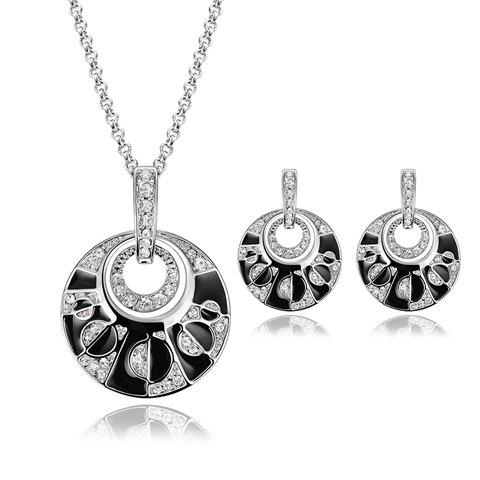 New Rhinestoned Hollow Out Round Necklace and Earrings SILVER