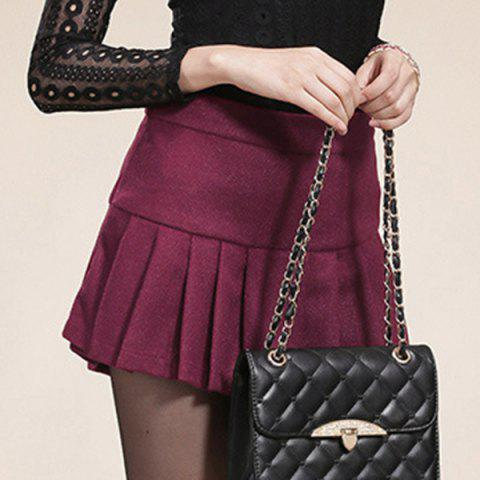 Fashion Sweet Zippered Candy Color Pantskirt For Women - 2XL WINE RED Mobile