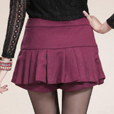 Cheap Sweet Zippered Candy Color Pantskirt For Women - 2XL WINE RED Mobile