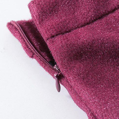 Outfit Sweet Zippered Candy Color Pantskirt For Women - 2XL WINE RED Mobile