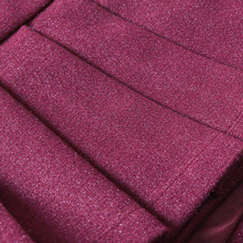 Fancy Sweet Zippered Candy Color Pantskirt For Women - 2XL WINE RED Mobile