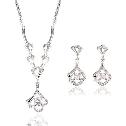 Fashion A Suit of Alloy Rhinestoned Hollow Out Necklace and Earrings WHITE GOLDEN