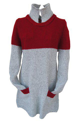 Stylish Turtleneck Long Sleeve Red and Gray Spliced Buttoned Women's Sweater - GRAY ONE SIZE(FIT SIZE XS TO M)