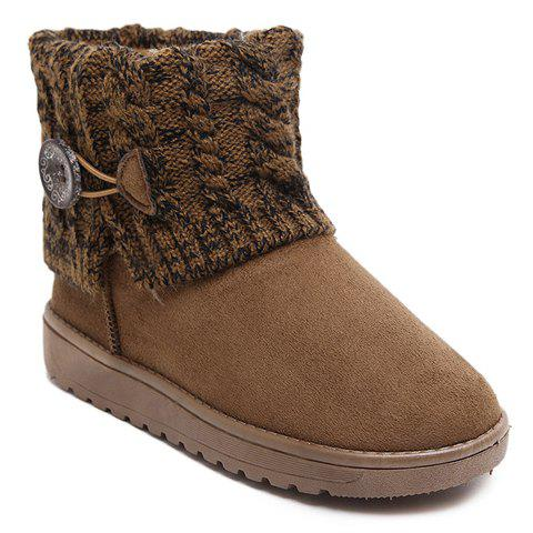 New Stylish Plush and Button Design Women's Snow Boots