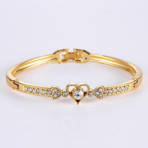 Chic Rhinestone Heart Gold Plated Bracelet - GOLDEN  Mobile