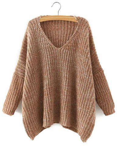 Chic Style V Neck Long Sleeve Solid Color Loose-Fitting Sweater Women