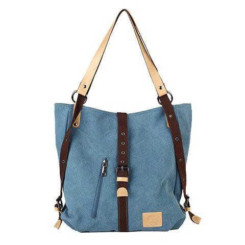 Unique Stylish Buckle and Canvas Design Women's Shoulder Bag - BLUE  Mobile