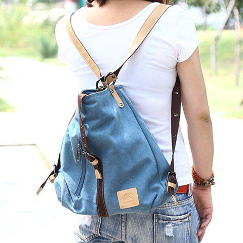 Chic Stylish Buckle and Canvas Design Women's Shoulder Bag - BLUE  Mobile