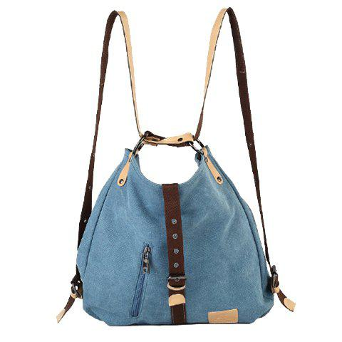 Outfits Stylish Buckle and Canvas Design Women's Shoulder Bag - BLUE  Mobile