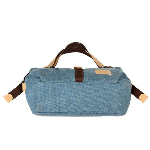 Outfit Stylish Buckle and Canvas Design Women's Shoulder Bag - BLUE  Mobile
