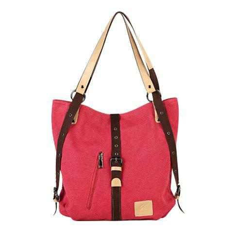 Latest Stylish Buckle and Canvas Design Women's Shoulder Bag - RED  Mobile