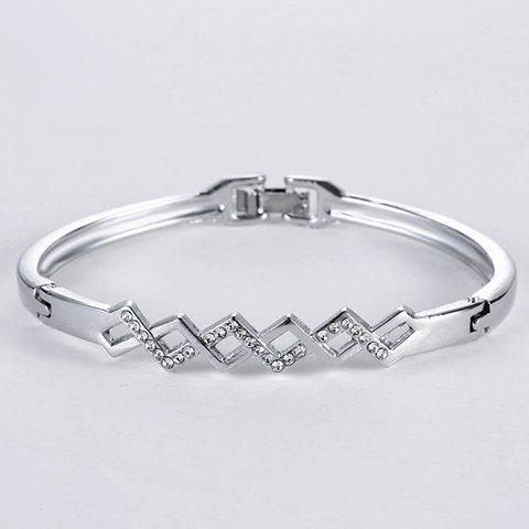 Outfits Rhombus Rhinestone Hollow Out Bracelet SILVER