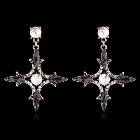 Store Pair of Graceful Faux Gemstone Rhinestone Hollow Out  Earrings For Women