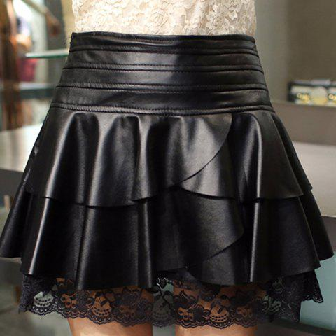 Outfit Retro Style Black Ruffles Lace Spliced PU Leather Skirt For Women