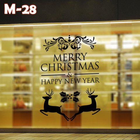 Unique M-28 Small Deer and Merry Christmas Style Removable Wall Stickers for Party Ornament