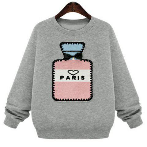 Hot Preppy Style Jewel Neck Bottle Patten Long Sleeve Sweatshirt For Women