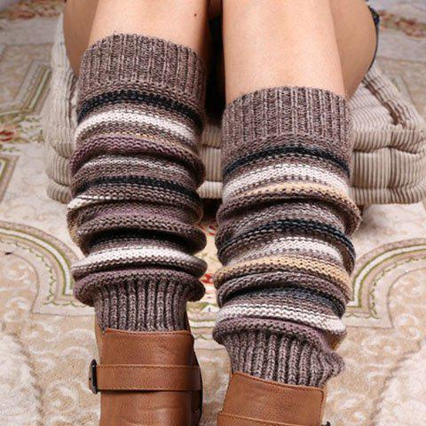 Cheap Pair of Chic Multicolor Stripe Pattern Knitted Leg Warmers For Women