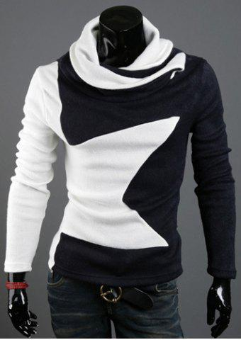 Discount Five-Pointed Star Pattern Color Block Slimming Heaps Collar Long Sleeves Men's Thicken Sweater