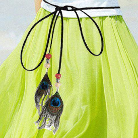 Latest Chic Peacock Feather Pendant Embellished Skinny Belt For Women BLACK
