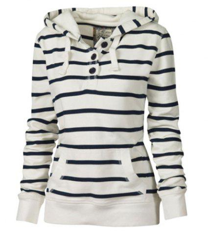 Affordable Casual Style Hooded Long Sleeve Striped Pocket Design Women's Pullover Hoodie