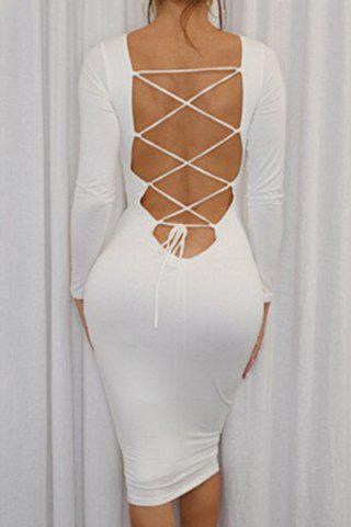 Outfit Long Sleeve Open Back Lace Up Ed Midi Bodycon Dress