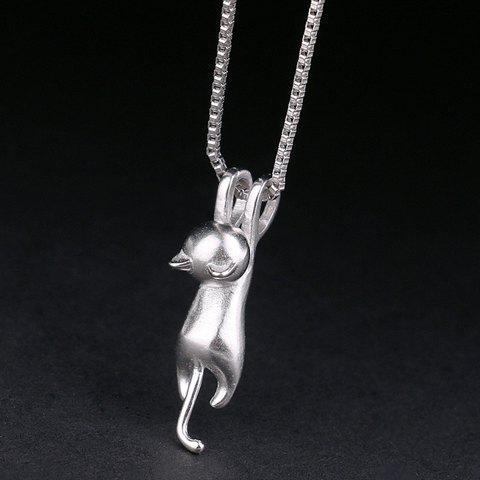 Discount Kitten Shape Pendant Necklace SILVER