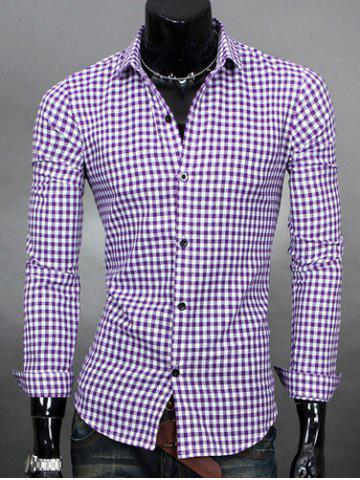Buy Simple Shirt Collar Color Block Plaid Print Long Sleeves Men's Slimming - Purple L