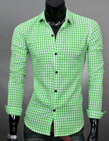 Buy Simple Shirt Collar Color Block Plaid Print Long Sleeves Men's Slimming - Green M