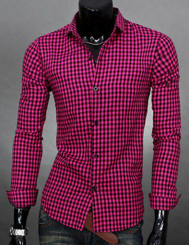 Buy Simple Shirt Collar Color Block Plaid Print Long Sleeves Men's Slimming - Rose Xl