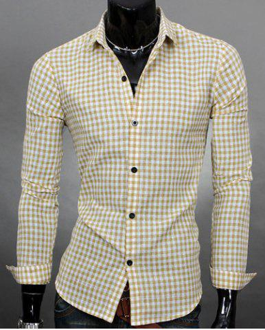 Buy Simple Shirt Collar Color Block Plaid Print Long Sleeves Men's Slimming - Beige L