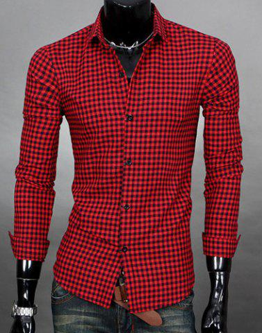 Buy Simple Shirt Collar Color Block Plaid Print Long Sleeves Men's Slimming - Red 2xl